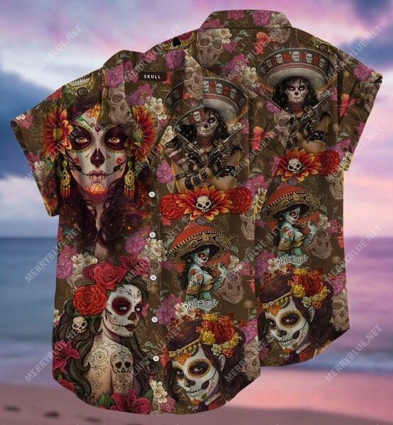 Amazing day of the dead sugar skull all over printed hawaiian shirt