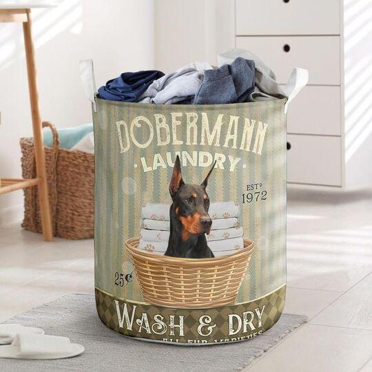 Amazing doberman dog all over printed laundry basket