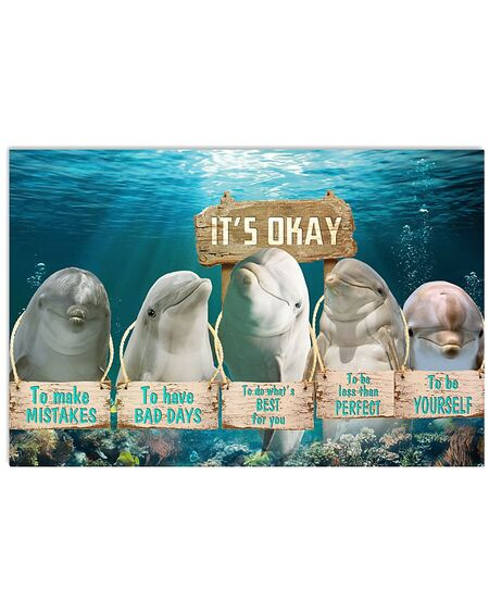 Amazing dolphin its okay to make mistakes to have bad days to be yourself poster
