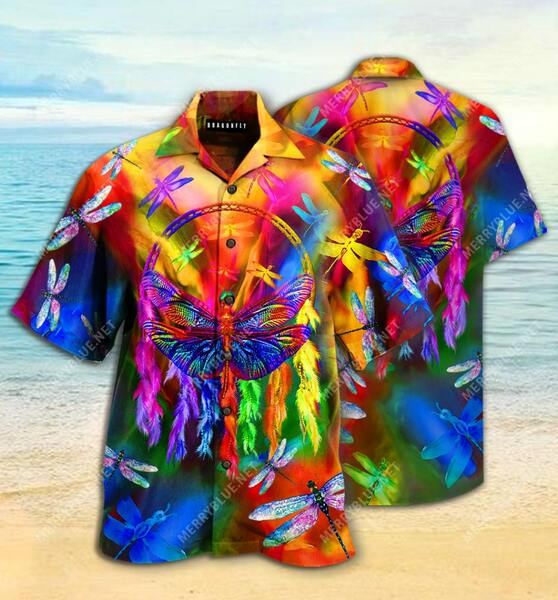 Amazing dragonfly colorful all over printed hawaiian shirt