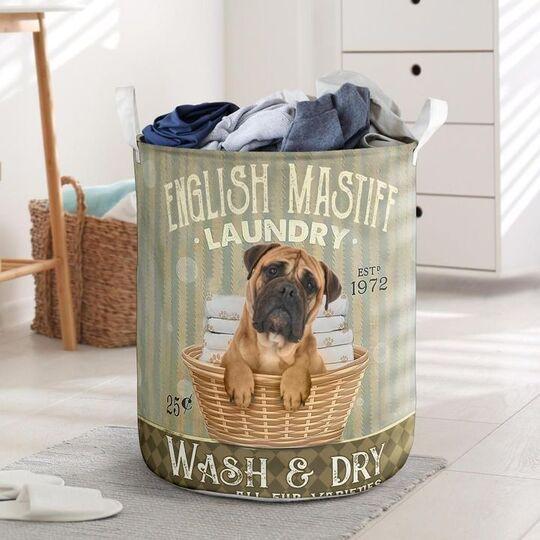 Amazing english mastiff wash and dry all over print laundry basket