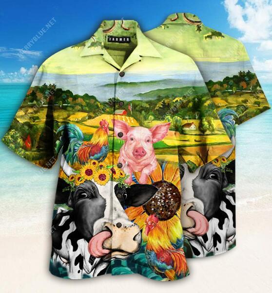 Amazing farmer animals all over printed hawaiian shirt