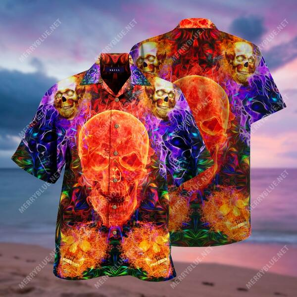 Amazing fire skull pattern all over printed hawaiian shirt