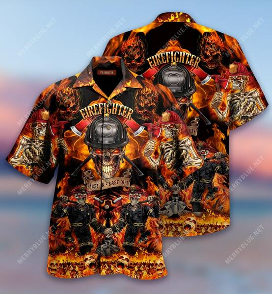 Amazing firefighter first in last out all over print hawaiian shirt