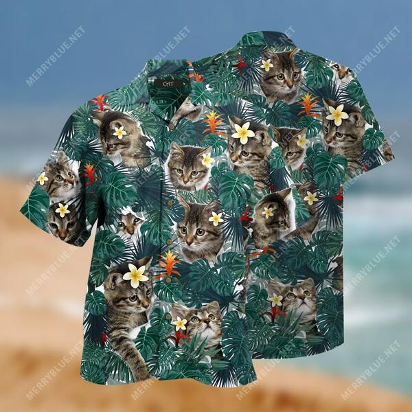 Amazing flower tropical and cats all over printed hawaiian shirt