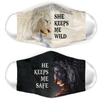 Amazing for couple lion she keeps me wild all over print face mask