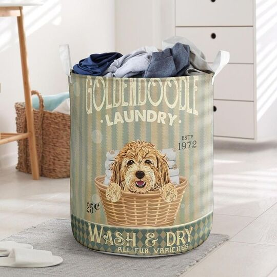 Amazing golden doodle dog all over printed laundry basket
