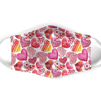 Amazing heart pattern all over print face mask