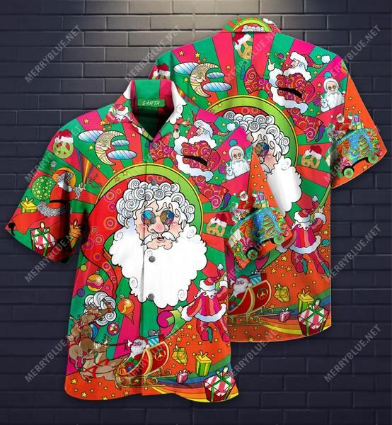 Amazing hippie santa all over printed hawaiian shirt