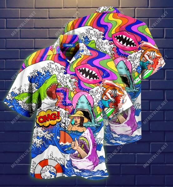 Amazing hippie shark on sea all over printed hawaiian shirt