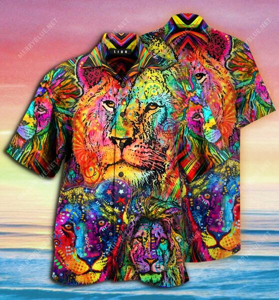 Amazing hippie version lion king all over printed hawaiian shirt