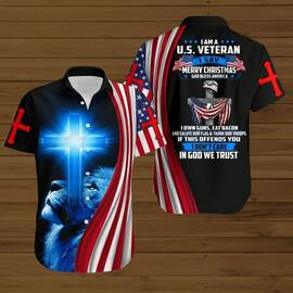 Amazing i am a us veteran i say merry christmas God bless america all over printed hawaiian shirt