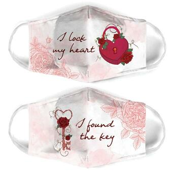 Amazing i lock my heart for couple love all over print face mask