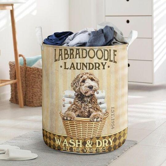 Amazing labradoodle dog all over printed laundry basket