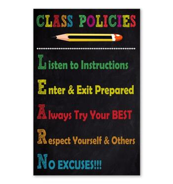 Amazing listen to instructions enter and exit prepared class policies poster