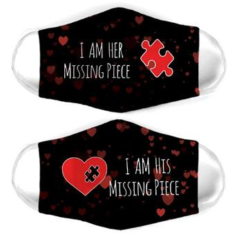 Amazing missing puzzle couple i am his missing piece face mask