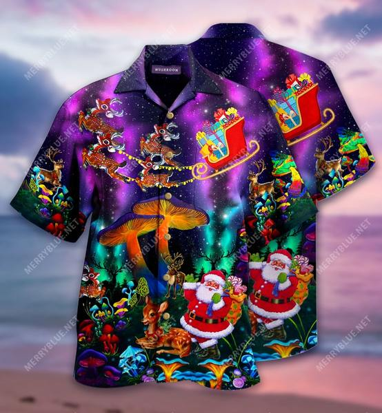 Amazing mushroom santa all over printed hawaiian shirt