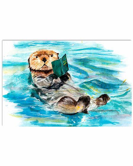 Amazing otter reading books poster