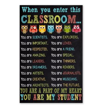 Amazing owl when you enter this classroom you are my student poster