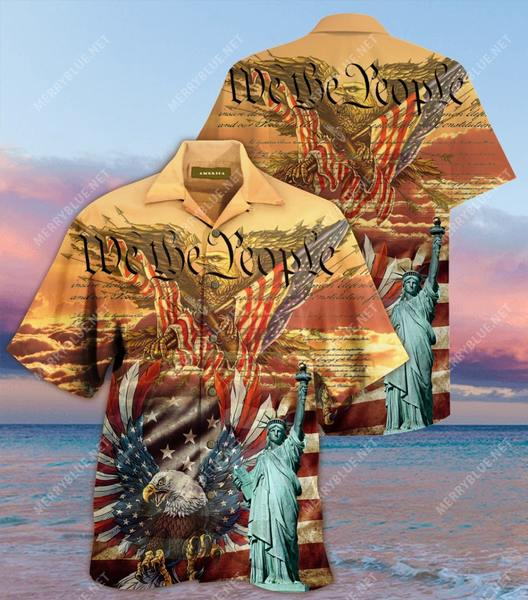 Amazing patriotism american flag eagle all over printed hawaiian shirt