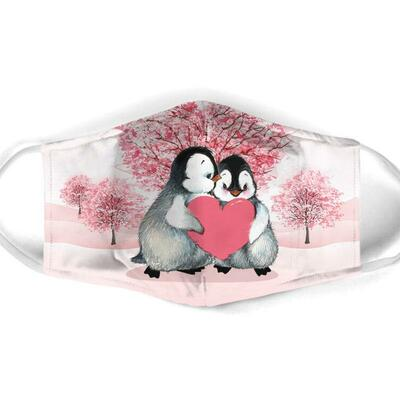 Amazing penguin couple love all over print face mask