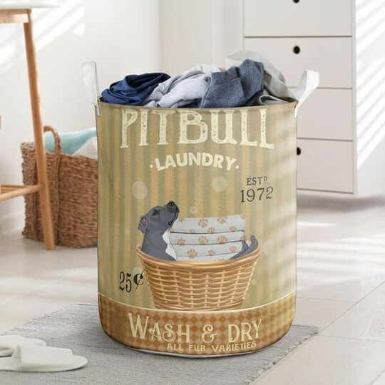 Amazing pitbull wash and dry all over print laundry basket