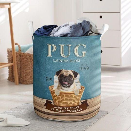 Amazing pug laundry room all over print laundry basket
