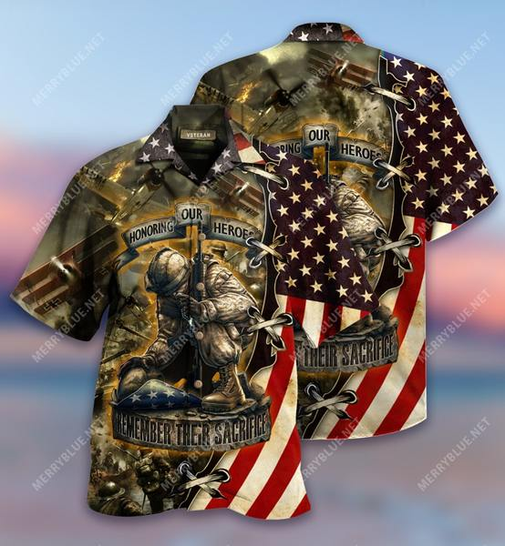 Amazing remember their sacrifice veteran all over printed hawaiian shirt