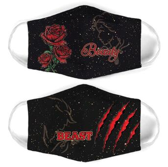 Amazing roses beauty and the beast for couple love all over print face mask