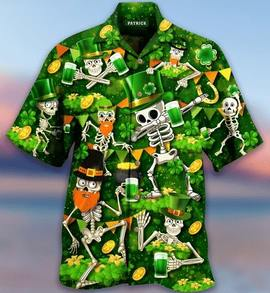 Amazing saint patricks day skull all over printed hawaiian shirt