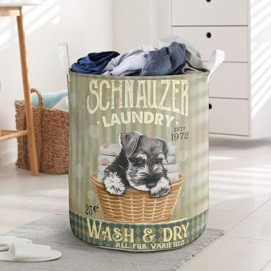 Amazing schnauzer wash and dry all over print laundry basket