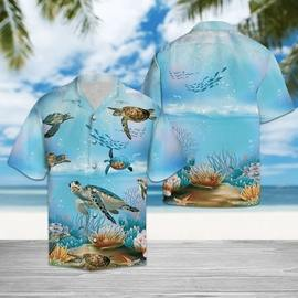 Amazing sea turtle in the ocean all over printed hawaiian shirt