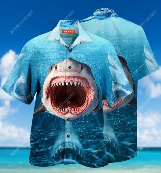 Amazing shark face all over printed hawaiian shirt