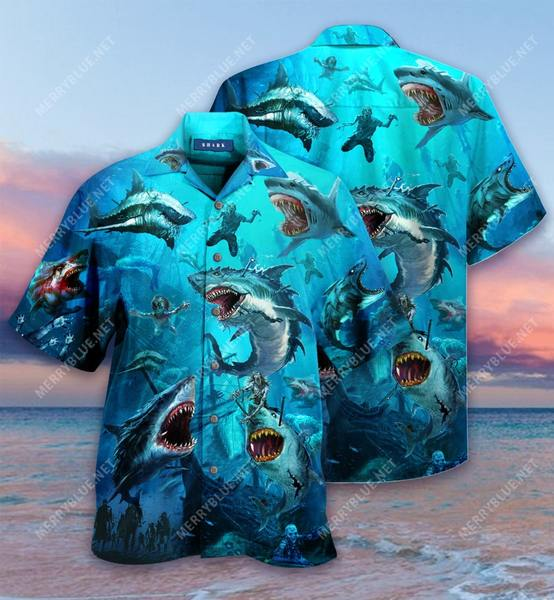 Amazing sharks and zombies all over printed hawaiian shirt