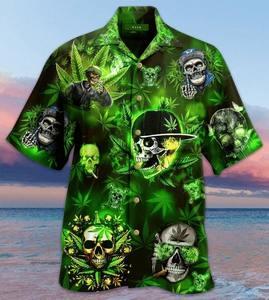 Amazing skull and weed all over printed hawaiian shirt