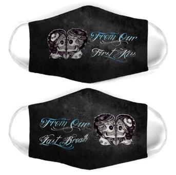 Amazing skull couple from our last breath all over print face mask