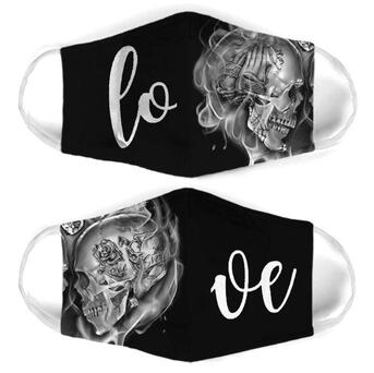 Amazing skull couple love all over print face mask