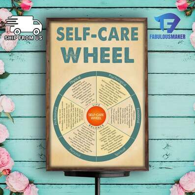 Amazing social worker self-care wheel poster