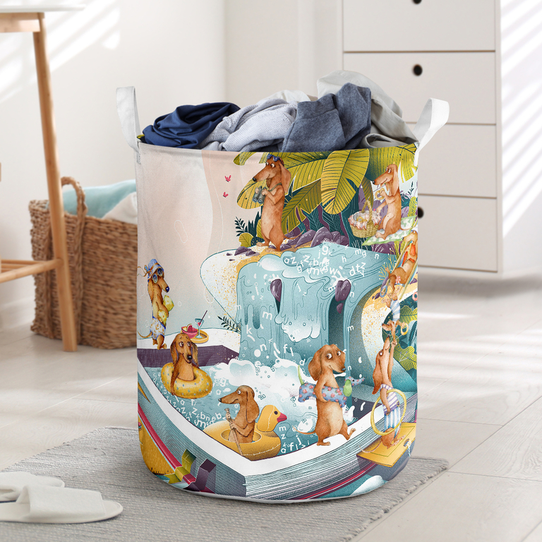 Amazing summer dachshund all over printed laundry basket
