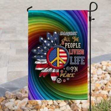 Amazing sunflower imagine all the people living life in peace all over print flag