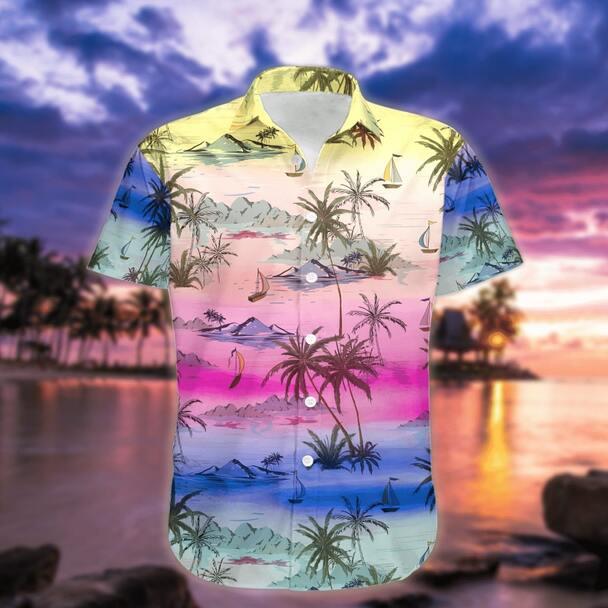 Amazing sunset on the beach all over printed hawaiian shirt