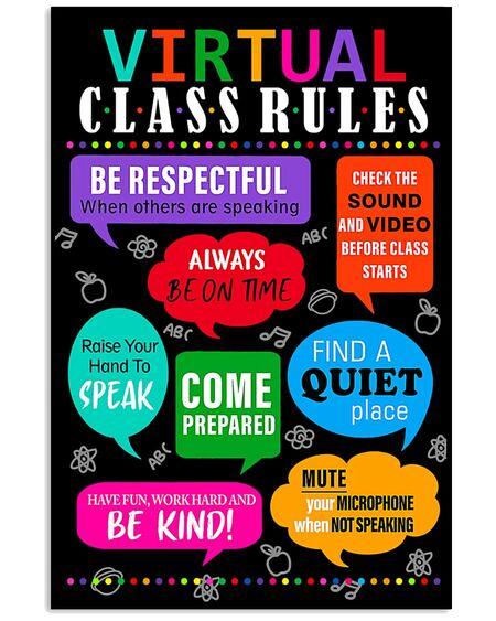 Amazing teacher virtual class rules back to school poster