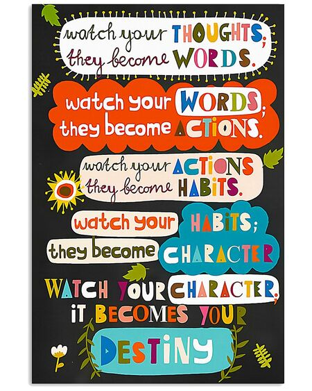 Amazing teacher watch your thoughts they become words poster
