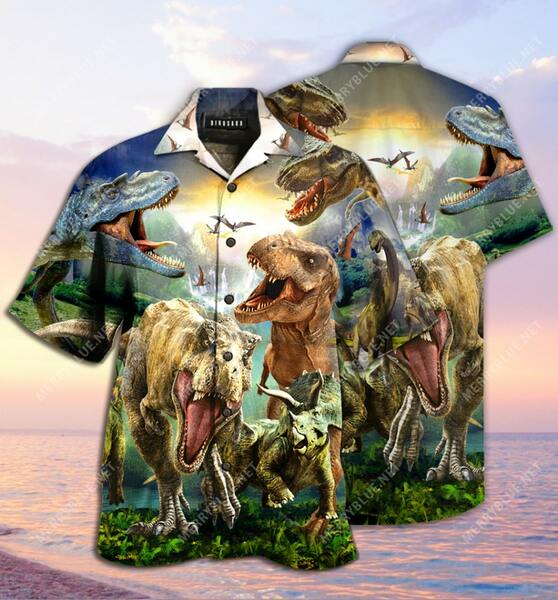 Amazing the dinosaur all over printed hawaiian shirt
