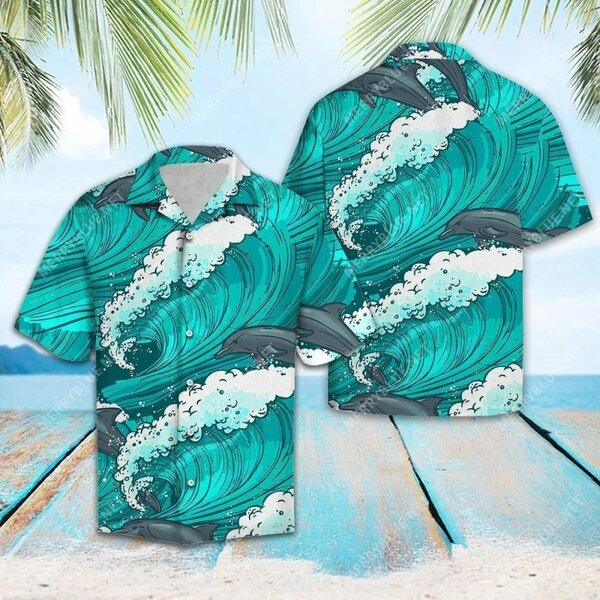 Amazing the dolphin waves all over printed hawaiian shirt