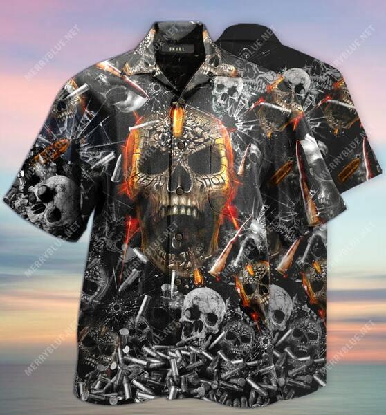 Amazing the skull gun all over printed hawaiian shirt