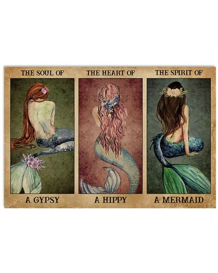 Amazing the soul of a gypsy the spirit of a mermaid vintage poster