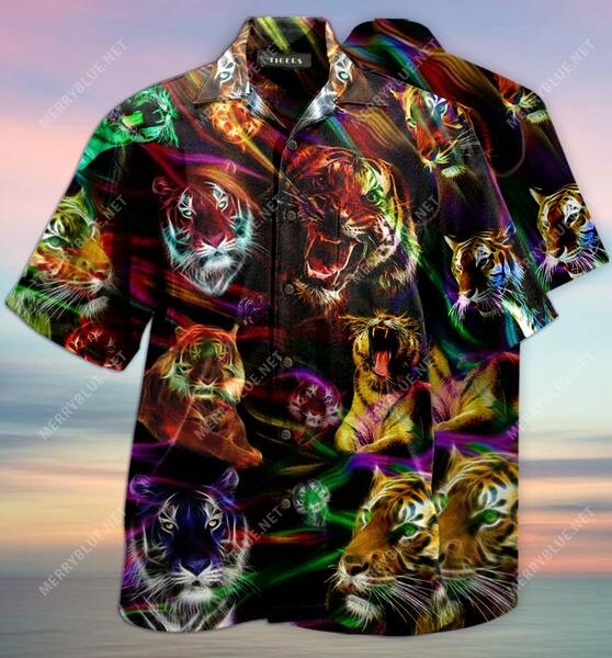 Amazing tiger colorful all over printed hawaiian shirt