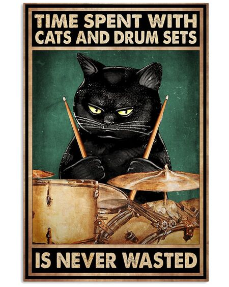 Amazing time spent with books and cats is never wasted vintage poster