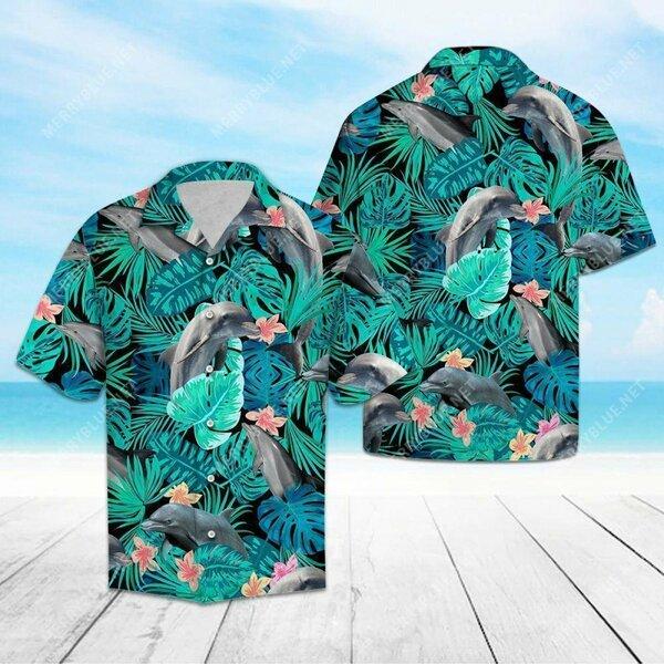 Amazing tropical dolphin all over printed hawaiian shirt